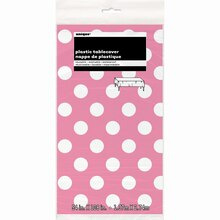 "Plastic Hot Pink Polka Dots Table Cover, 108"" x 54"" Package"