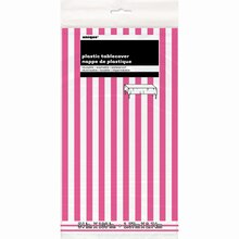 "Plastic Hot Pink Striped Table Cover, 108"" x 54"", Package"