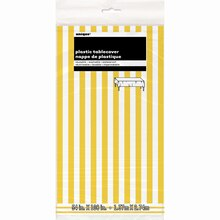 """Plastic Yellow Striped Table Cover, 108"""" x 54"""", Package"""