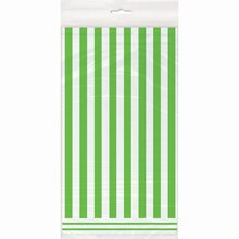 """Plastic Lime Green Striped Table Cover, 108"""" x 54"""", Package"""