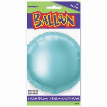 "Foil Baby Blue Round Balloon, 18"", package"