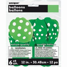 "12"" Latex Lime Green Polka Dots Balloons, 6ct"