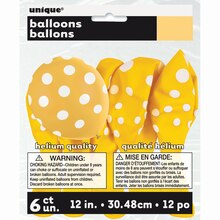 "12"" Latex Yellow Polka Dots Balloons, 6ct"
