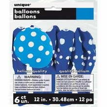 "12"" Latex Royal Blue Polka Dots Balloons, 6ct, Package"