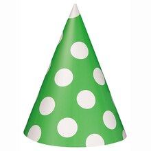 Lime Green Polka Dots Party Hats, 8ct