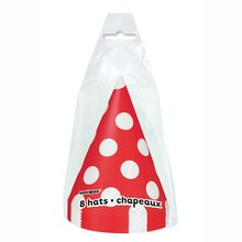 Red Polka Dots Party Hats, 8ct, Package