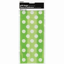 Lime Green Polka Dots Cellophane Bags, 20ct Package
