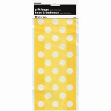 Yellow Polka Dots Cellophane Bags, 20ct Package