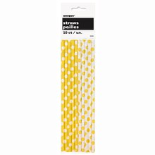 Yellow Polka Dots Paper Straws, 10ct