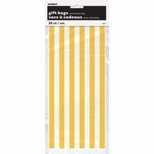 Yellow Striped Cellophane Bags, 20ct