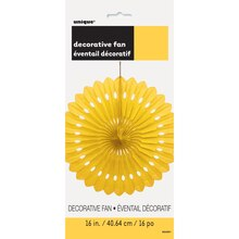 "Yellow Tissue Paper Decorative Fan, 16"", Package"
