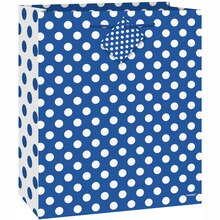 Medium Royal Blue Polka Dots Gift Bag