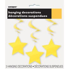 Hanging Yellow Star Decorations, 3ct, Package