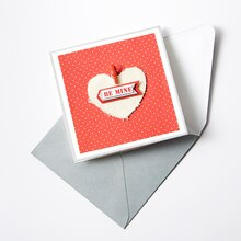Burlap Heart Embellished Valentine's Day Card