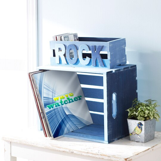 Rock denim ombre painted wood crate for Painted crate ideas