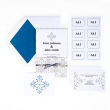 Celebrate It Occasions Gray & Blue Filigree Invitation Suite