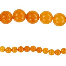 Bead Gallery Round Orange Quartzite Beads, 8mm, Close Up