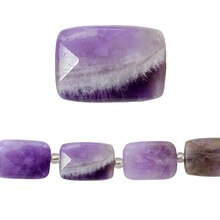 Bead Gallery Faceted Rectangular Amethyst Beads, Close Up