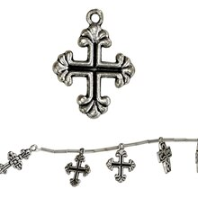 Bead Gallery Silver Plated Cross Charm Mix, Close Up