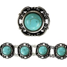 Bead Gallery Metal Slider, Small Round Turquoise, Close Up