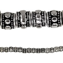 Bead Gallery Antique Silver Carved Rondelle Beads, Close Up