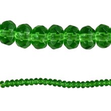Bead Gallery Faceted Glass Rondelle Beads, Peridot, Close Up