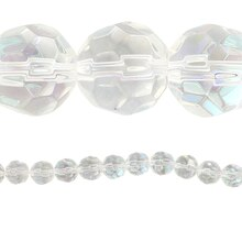 Bead Gallery Glass Faceted Round Beads, Crystal AB, Close Up