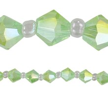 Bead Gallery Glass Bicone Beads, Green, Close Up