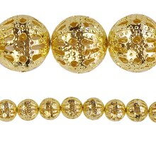 Bead Gallery Gold Filigree Round Beads, 8 mm, Close Up