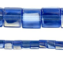 Bead Gallery Cube Beads, Blue Glass, Close Up