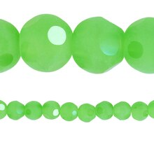 Bead Gallery Faceted Glass Round Beads, Peridot Matte, Close Up
