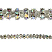 Bead Gallery Metal Rhinestone Rondelle Beads, 4 mm, Close Up