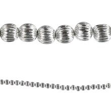Bead Gallery Corrugated Barrel Beads, Silver Plated, Close Up