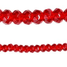 Bead Gallery Faceted Glass Rondelle Beads, Ruby, Close Up