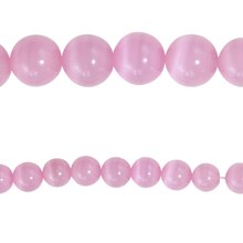 Bead Gallery Cat's Eye Glass Round Beads, Pink, Close Up