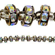 Bead Gallery Metal Rhinestone Rondelle Beads, 8mm, Close Up