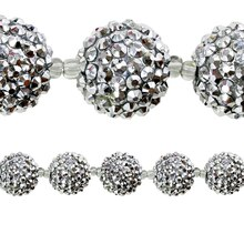 Bead Gallery Faceted Acrylic Round Beads, Silver, Close Up
