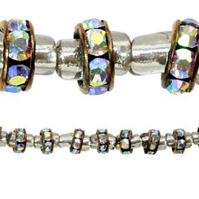 Bead Gallery Metal Rhinestone AB Rondelle Beads, 6 mm, Close Up