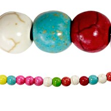 Bead Gallery Reconstituted Stone Round Beads, Multi, 6mm, Close Up