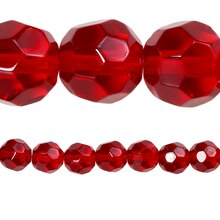 Bead Gallery Faceted Glass Round Beads, Ruby, Close Up