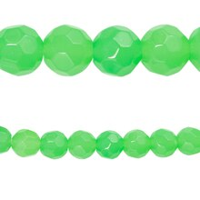 Bead Gallery Faceted Glass Round Beads, Opaque Green, Close Up