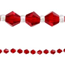 Bead Gallery Faceted Bicone Glass Beads, Ruby, 6 mm, Close Up