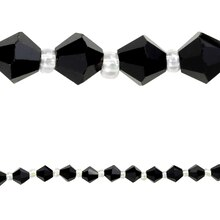 Bead Gallery Glass Bicone Beads, Black 6 mm, Close Up