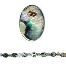 Bead Gallery Flat Oval Abalone Beads, Close Up