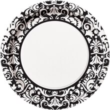 "9"" Black Damask Dinner Plates, 8ct"