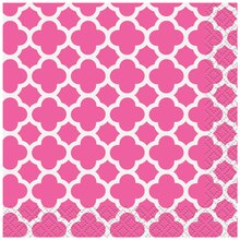 Hot Pink Quatrefoil Cocktail Napkins, 16ct