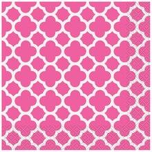 Hot Pink Quatrefoil Luncheon Napkins, 16ct