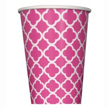 12 oz. Hot Pink Quatrefoil Paper Cups, 6ct