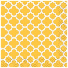 Yellow Quatrefoil Cocktail Napkins, 16ct