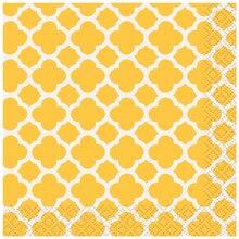 Yellow Quatrefoil Cocktail Napkins, 16ct